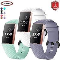 FunBand Correa para Fitbit Charge 3, Edición Especial Soft Silicona Deportes Recambio de Pulseras Ajustable Reemplazo Accesorios para Reloj Fitbit Charge 3 (3-Pack)