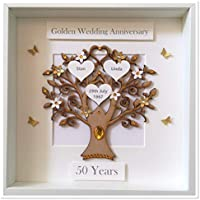 Personalised 50 Years Golden Wedding Anniversary Family Tree 3D Box Frame Picture Keepsake Wedding Gift Home Christmas Birthday Mothers Day Mum Love
