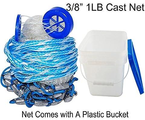 SHADDOCK Angeln handgefertigt American Salzwasser Angeln Net für Köder Trap Fisch 5ft/1,8M/2,1/2,4m/9FT/Gartenzelt, 3/20,3cm Mesh Größe (mit einen Eimer), 8 Feet*3/8Inch
