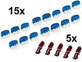 genisys 15 Kabel Verbinder + 5 Anschlussklemmen für Bosch Indego 350 400 Connect 800 | wiederverschließbare Box | Original 3M Scotchlok