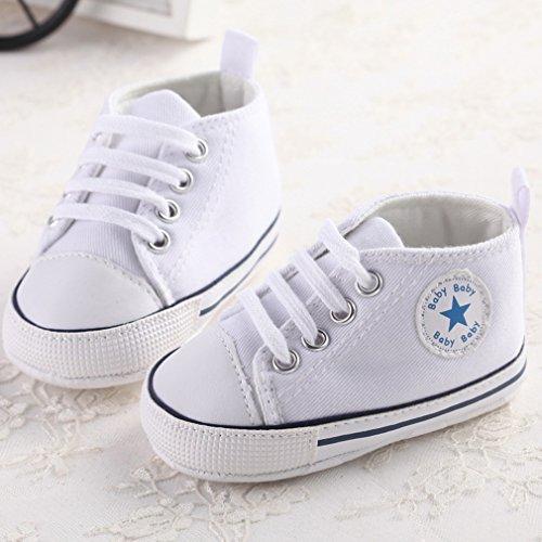 Nette Baby-Segeltuch-Turnschuh-Rutschfeste Weiche Trainer-Schuhe 0-18M Weiß