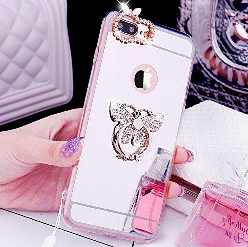 iPhone 6S Plus Coque en Silicone Diamant,iPhone 6 Plus Étui Souple Luxe,JAWSEU Ultra Slim Cristal Clair Bling Brillant Miroir Couronne Ring Stand Holder TPU Téléphone Coque Coquille de protection pour argent/Papillon