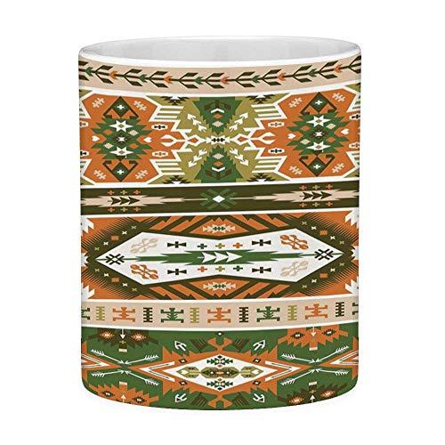 Tazza da caffè in ceramica senza piombo tazza da tè bianco tribale 11 once tazza da caffè divertente disegno vettoriale con tatuaggio stile maya azteco stripes forme stampa stampa amber fern verde bro