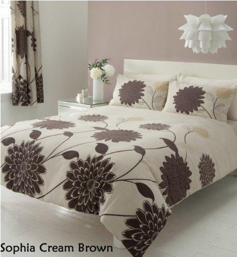 3pc sophia cream brown king size bedding bed duvet cover quilt set with pillowcases by