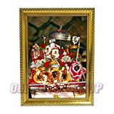 Om Pooja Shop Mata Vaishno Devi in Photo Frame (Wooden, 6x8-inch)