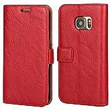 Etui Galaxy S7 Edge ,Pochette Portefeuille en Cuir Véritable Coque de Protection pour Housse Samsung Galaxy S 7 Edge Avec Fonction Stand – Red/Rouge
