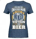 Hochwertiges Damen Melange Shirt - Einfacher Mann Titten und Bier