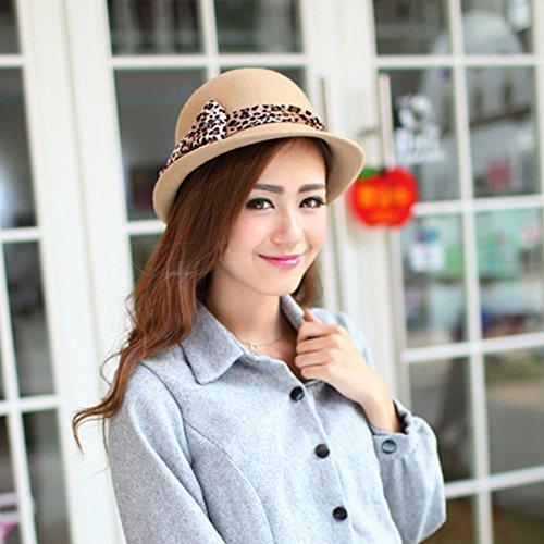 Surker Femmes Laine Leopard Bow Godet Pots Hat CL02530 Kaki