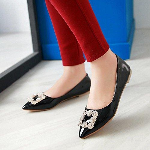 Mee Couro Bombas Strass Moderno Sapatos Com Fechado E Confortável Baixo Populares Preto Senhoras Apontou r7vrxAqEw