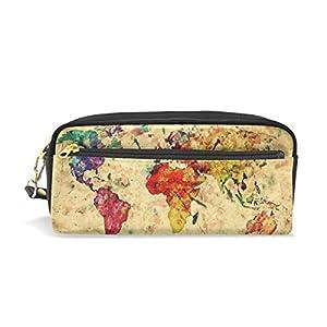 zzkko Vintage mapa del mundo acuarela funda de piel cremallera lápiz pluma estacionaria bolso de la bolsa de cosméticos bolsa bolso de mano