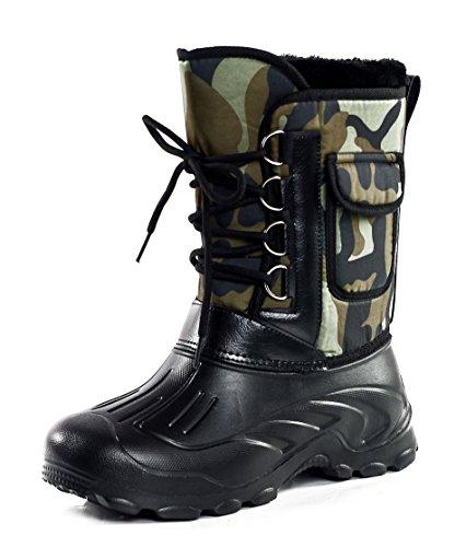 AgeeMi Shoes Herren Rund Zehe Unisex Erwachsene Classic Mid Combat Stiefel,EuN08 Grünes Camo (Camo Heel Stiefel High)