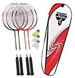 Talbot Torro Badminton-Set 4-Attacker, 4 Schläger, 3 Federbälle, in wertiger Tasche, Federballset, 449518