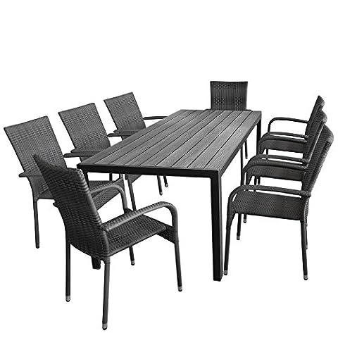 9tlg. Gartengarnitur Aluminium Gartentisch, Tischplatte Polywood, 205x90cm + 8x Rattanstuhl, stapelbar, Bespannung Polyrattan, nordic grey - Gartenmöbel Set Sitzgarnitur Sitzgruppe