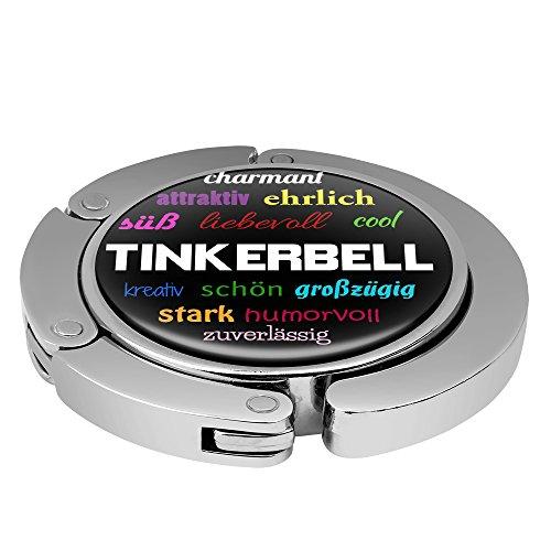 Taschenhalter Positive Eigenschaften Personalisiert mit Namen Tinkerbell printplanet Chrom
