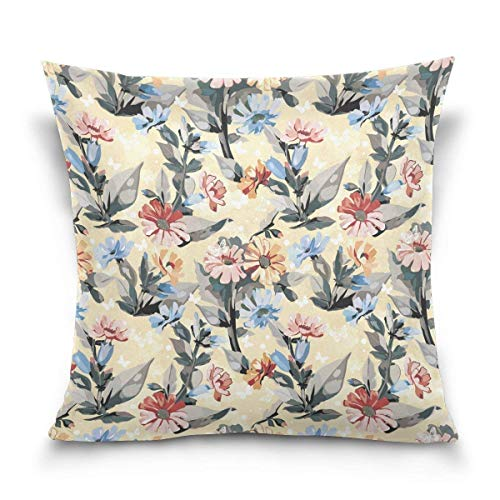 Klotr federe cuscino divano, elegant flowers and birds decorative square throw pillow case cushion cover for sofa bedroom car double-sided design 18 x 18 inch