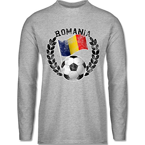 Shirtracer Fußball - Romania Flagge & Fußball Vintage - Herren Langarmshirt Grau Meliert