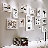 YMXLJF Muro decorativo Portafoto semplice da parete in vero legno per foto set di cornici fotografiche (Colore : Bianca)