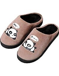 Zapatillas de Estar por Casa para Niñas Niños Otoño Invierno Zapatillas Mujer Hombres Interior Caliente Suave Dibujos Animados Panda Zapatos