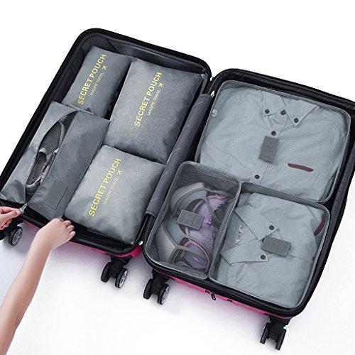 DoGeek- 7 en 1 Set de Organizador de Equipaje Perfecto para Viaje con Bolsa de Zapato,Impermeable Organizador de Maleta Bolsa para Ropa Sucia de Viaje, Material Nylon