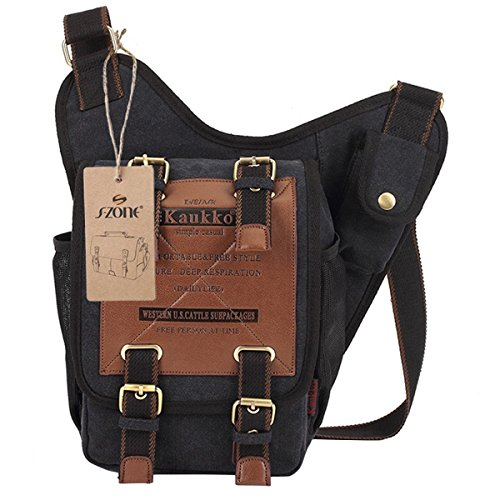 518O1h9cOlL. SS500  - S-ZONE Mens Vintage Canvas PU Leather Military Utility Shoulder Messenger Bags