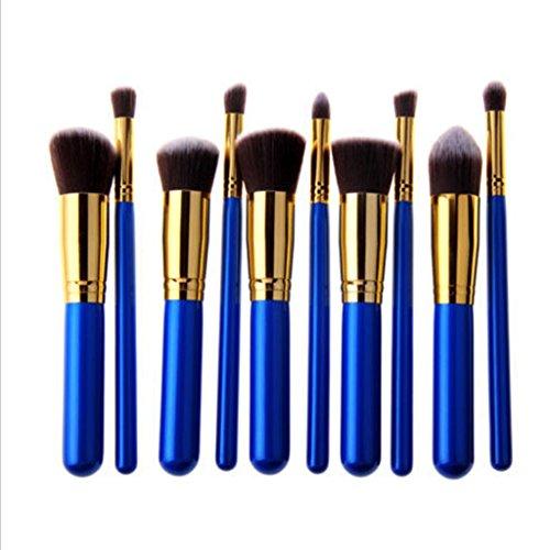 MagiDeal 10pcs Pinceaux Pro Maquillage Fondation Poudre Fard à Paupières Mélange Brosse - Bleu + Argent, 15.5cm / 17.5cm