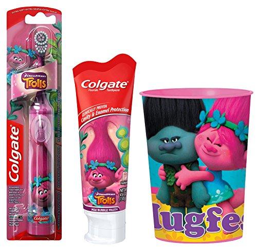 Trolls-Poppy-Kids-Toothbrush-Bundle-3-Items-Powered-Toothbrush-Mild-Bubble-Fruit-Toothpaste-Kids-Rinse-Cup