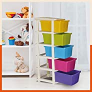 Bathla Stomo 5 - Extra Large Multi-Purpose Modular Drawer Storage System for Home and Office with Trolley Whee