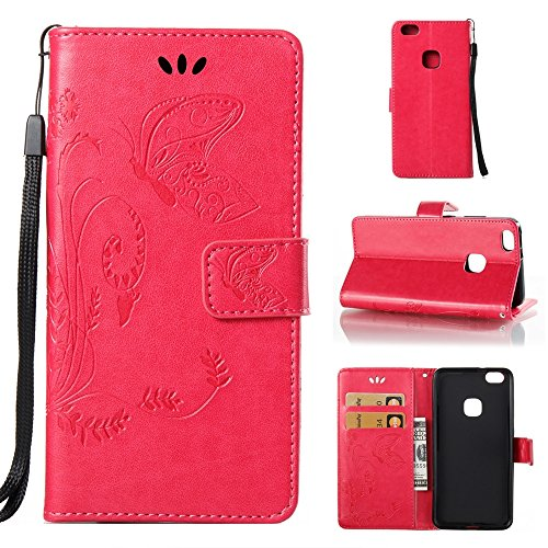 Solid Color Faux Leder Bookstyle Brieftasche Stand Case mit geprägten Blumen & Lanyard & Card Slots für Huawei P10 Lite ( Color : Coffee ) Rose red