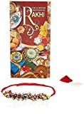 Aheli Crystal Beads Rakhi for Men with Greeting Card and Roli Chawal Tilak (Red) (ARCA4)