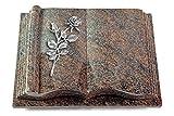 MEMORUM Grabmale Grabbuch, Grabplatte, Grabstein, Grabkissen, Urnengrabstein, Liegegrabstein Modell Antique 40 x 30 x 8-9 cm Paradiso-Granit, Poliert inkl. Gravur (Aluminium-Ornament Rose 13)