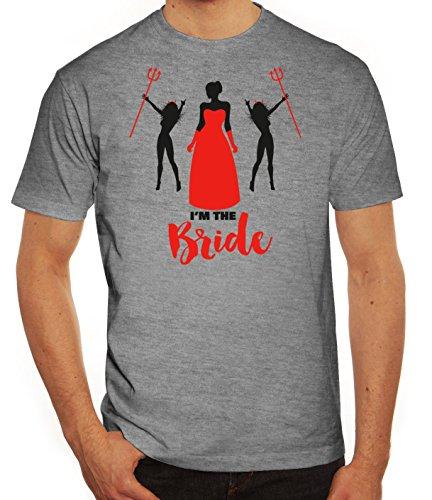 Junggesellenabschieds JGA Hochzeit Herren T-Shirt mit Devil Bride Motiv von ShirtStreet Graumeliert