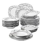 VEWEET 'Serena' Servizio da tavola in porcellana 36 pezzi | Set di stoviglie per 12 persone | Ognuno con 12 piatti da dessert,12 piattino e 12 piatti piani