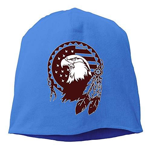 DHNKW Native American Symbols EagleUnisex,Women/Men Wool Hat Soft Stretch Beanies Skull Cap Black Chunky Knit Visor Beanie