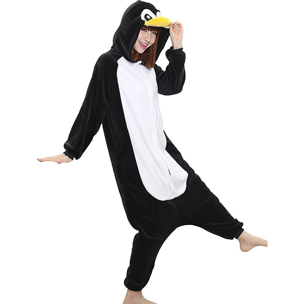 Molly Unisex Adulto Kigurumi Pigiama Cosplay Costume Animale Pigiama XL Nero Penguins