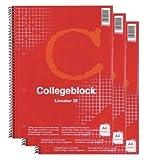 3x Collegeblock A4 Spirablock Kollegblock kariert