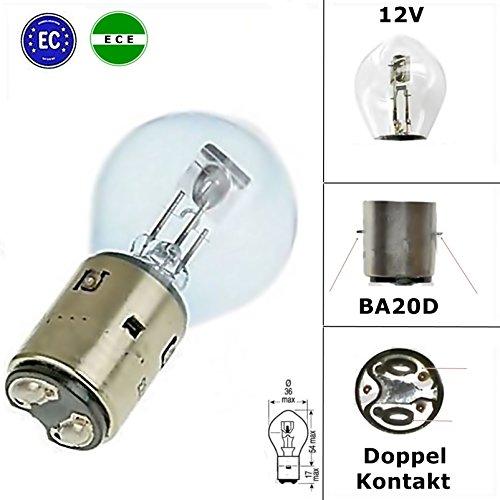 SET: 2x Qualitäts Glühlampe Lampe mit E-Zeichen - 12V - 35/35W - BA20D - - Scheinwerfer Roller Für