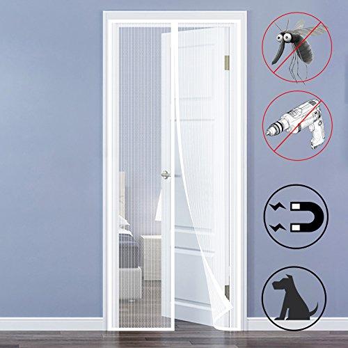 QH-Shop Mosquitera Magnética para Puertas,Mosquitera Puerta Sellar automáticamente con Marco Completo Velcro para Sala de Estar Balcón 90 x 210cm