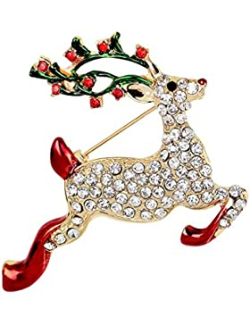 Lanmpu, Broschemit Goldbeschichtung und Swarovski-Kristallen, für Weihnachten