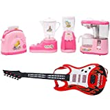 New Pinch Combo Of Educational Household Set Juicer, Coffee Maker, Water Dispenser And Toaster- Set Of 4 Role Play Toy With Musical Guitar Light And Sound For Kids