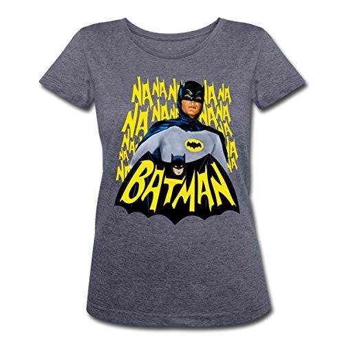 Kostüm Retro Batman - Spreadshirt DC Comics Batman Retro Schauspieler Titelsong Frauen Polycotton T-Shirt, L (40), Navy meliert