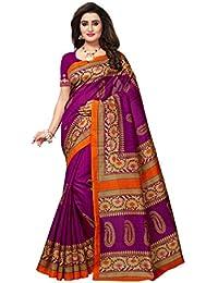 Varayu Women's Pink And Beige BHAGALPURI SILK Printed Saree With Unstitched Blouse(743SJ51-P)