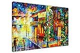 Town aus der Dream Deutschland von Leonid Afremov Leinwand drucken Gerahmte Bilder New Modern Art City Scenery, canvas holz, 06- A0 - 40