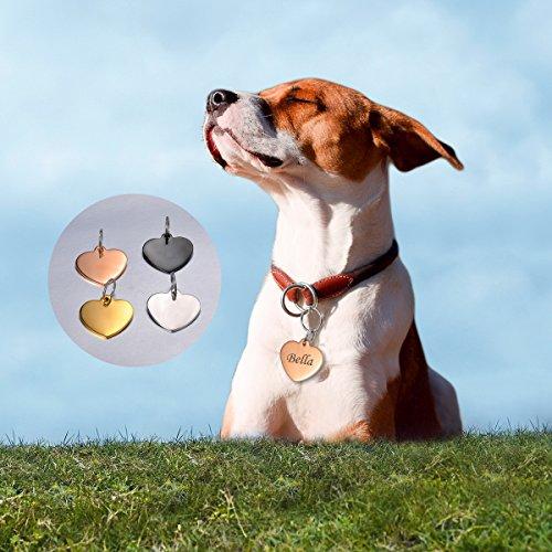 HOUSWEETY Herz Edelstahl Personalisiert Haustier ID Tag Hund Tag Hundemarke Anhaenger MIT Gravur Service,Schwarz - 6