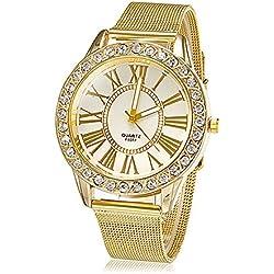 Damenuhr Mode Strass goldenen Band Armbanduhr