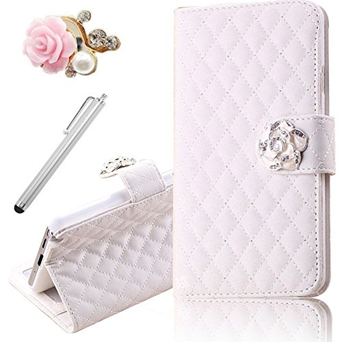 Vandot 3In1 Set 3D Lusso Accessori Flip Folio Pelle PU Book Wallet Cuoio Custodia Case Cover Indietro Shell Skin Per Caso Astuto Telefono HTC One (M8) (12,7 cm (5 Zoll)Pollice Bella Premium Quality Borsa Bag Copertura Rhinestone Bling Shinning Crystal Strass Sacchetto Caso Dell'unitÀ Di Elaborazione Smartphone Scintillio Falso Artificial Leather Diamante Protection Protector Protettiva Magnetico Closure Chiusura Cristallo Diamand Cassa Mobile Signora Fashion Glittering Modern Girl Stile Style Design+1x Metallo Tocco Penna Stylus Touch Screen Capacitivo Stilo+1x 3,5 mm Anti Spina Polvere Anti Dust Plug Anti-Dust Strass Tappi Polvere Earphone Jack Headphones Headset - Chiaro Multi-Function Lattice Grid Quilted padding Fiore Credit Card Slots Supporto Basamento Stand Holder Ciondolo Per Cellulare Portafoglio Cuoio Donna Handmade Fatto a Fano- Colorful (Bianco)