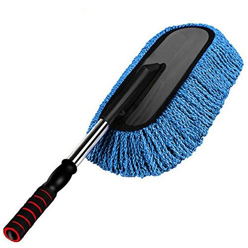 Preisvergleich Produktbild Einziehbarer Auto Staubwischer,  HiKeep Microfiber Autowasch Staubwedel Duster Bürste mit Abnehmbar Teleskopstiel für Auto,  Haushalt (Blau)