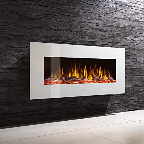 Noble Flame Vegas 900 - Elektrokamin Wandkamin Kaminofen Kamin - Wandmontage Fernbedienung - Verschiedene Breiten - weiß