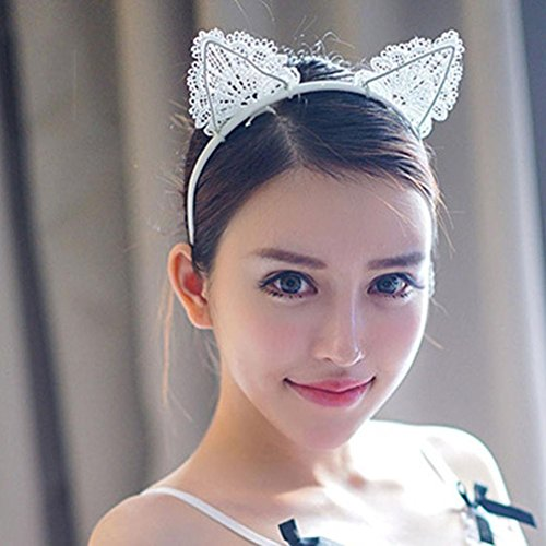 DOLDOA 4 Farbe Katzenohren Haarband Reizvolle Spitzen gewoben Stirnband Halloween Weihnachten Festival Party Kopfband Kostüm Accessories für Frauen (D)