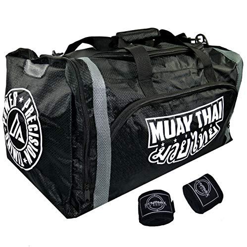 Dynamix Athletics Sporttasche Muay Thai Warrior XL - Große Trainingstasche Gym Tasche für Kampfsport Thaiboxen Fitness Boxen - wasserabweisend - sehr viel Platz - Bundle mit Boxbandagen -
