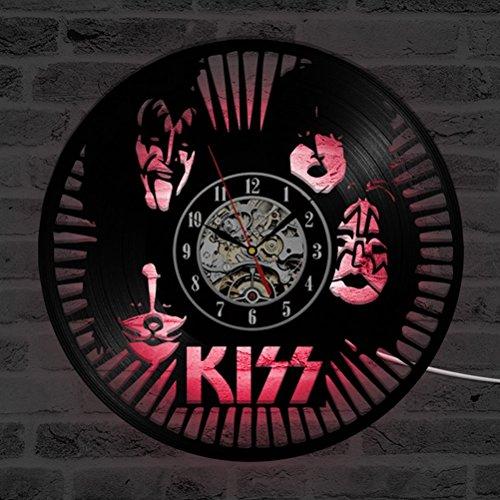 GuoEY KISS Rock Band LED-Wanduhr Modern Design Klassik CD-Uhren Sieben Farben Hintergrundbeleuchtung Schallplatte an der Wand beobachten Home Decor Silent - Jubiläum-diamant-band